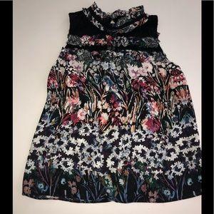 Parker black Floral tank top blouse shirt xs silk